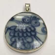 Collectible .925 Sterling Silver Abstract Blue Porcelain Owl Pendant