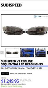 2018+ Subaru WRX Limited/ 18+ STI SubiSpeed V2 Redline Sequential LED Headlights
