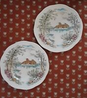 Vintage Alfred Meakin Queen's Castle Staffordshire England Set of 2 plates 6.5""