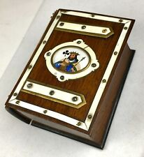 Antique Wood Celluloid Hand Painted King of Clubs Playing Cards Case Box Rare