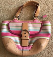 COACH HAMPTON MULTI-COLOR STRIPE VACHETTA LEATHER SMALL TOTE BAG #1888 GUC