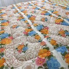 Stunning Vintage 60's QUILT Bed TOPPER FLORAL Print ADORABLE Bedspread