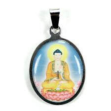 STAINLESS STEEL BUDDHA PENDANT Buddhist Color Charm Jewelry NEW Metal Necklace