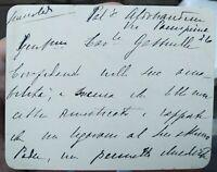 1890 139) CARTONCINO AUTOGRAFO DI MARIA ANTINORI PALAZZO ALDOBRANDINI A FIRENZE