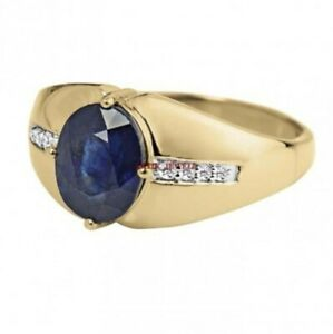 Natural Blue Sapphire Gemstone with Gold Plated 925 Sterling Silver Ring AJ320