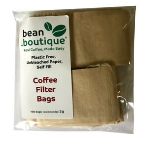 bean.boutique Empty PLASTIC FREE, Unbleached Paper, Coffee Filter Bags (3 sizes)