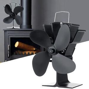 4 Blades Heat Powered Wood Stove Fan Wood Log Burner Fireplace Household DEN