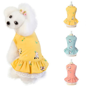 Puppy Dog Printed Skirt Dog Cotton Dress Soft Costume Pet Supplies Cute Clothing
