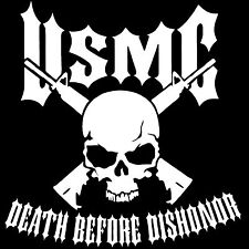 USMC MARINE CORPS SEMPER FI DEATH BEFORE DISHONOR BUMPER STICKER DECAL