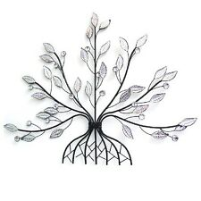 Large Metal Wall Art Wall Hanging Tree with Clear Acrylic Glass Leaves Sparkling