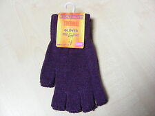 WOMENS LADIES PURPLE THERMAL FINGERLESS STRETCH GLOVES - ONE SIZE - BRAND NEW