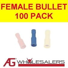 CRIMP TERMINALS - BLUE FEMALE BULLET FULLY INSULATED - 100 PACK