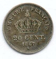 A SAISIR TRES RARE MONNAIE DE 20 CENTIMES NAPOLEON III ARGENT 1867 K ! BORDEAUX