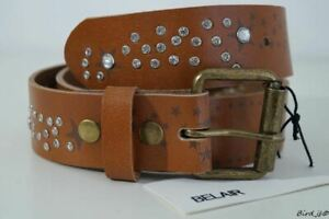 BELAIR CELINE TAN BROWN STARS DIAMANTE STUDDED BELT SIZE 90cm NEW!!