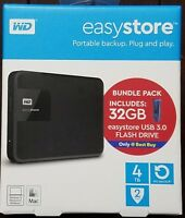 WD easystore 4TB External Portable Hard Drive + 32GB Easystore Flash Drive New!