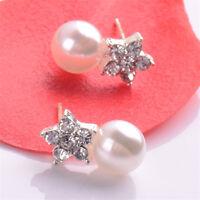 New Flower Crystal Rhinestone Pearl Ear Stud Earrings Wedding Women Jewellery