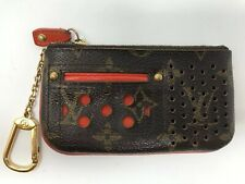 Authentic Louis Vuitton Monogram Orange Pochette Cles Coin Perforated Case