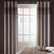 "Catherine Lansfield 66"" X 72"" Ombre Bands Eyelet Ring Lined Curtains Pair Grey"