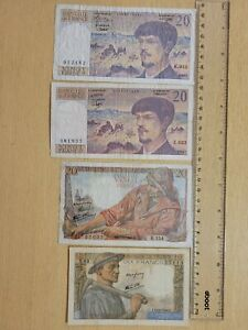🇫🇷 France assortment of 4 old circulated banknotes  072621-17