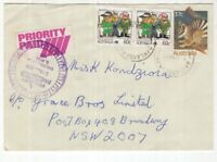 Australia PRIORITY PAID 1988 cover with timestamp BROADWAY backstamp