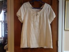 JM Collection sz 16 beaded cotton short sleeve cream top