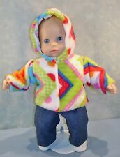 15 Inch Doll Clothes - Multicolored Polar Fleece Jacket made by Jane Ellen