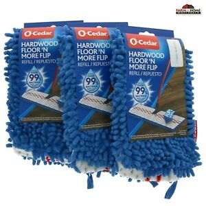 3 O-Cedar Hardwood Floor 'N More Flip Mop Dual Side Refill ~ New