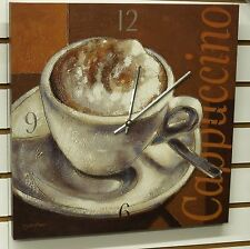 """LARGE 16"""" SQUARE POSTER BOARD WALL CLOCK - DISPLAYING A CUP OF """"CAPPUCCINO"""""""