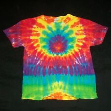 Organic Tie Dye Child T-Shirt Medium 10 Rainbow Sunburst Hippie Hand Tye Dyed