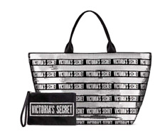 VICTORIA'S SECRET BLACK FRIDAY SEQUINS BLING TOTE BAG & BLACK MINI POUCH BAG NWT