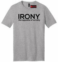 Irony The Opposite Of Wrinkly Funny Mens V-Neck T Shirt College Party Gift Tee
