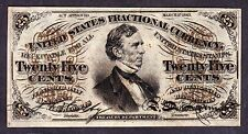 Us 25c Fractional Currency Note Fiber Paper Fr 1297 Ch Cu