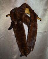 Vintage Four Whole Mink Fur Pelt Scarf Stole Wrap
