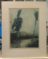 GEORGE SENSENEY 1921 ARTS & CRAFTS COLOR AQUATINT LISTED WEST VIRGINIA ARTIST