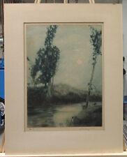 GEORGE SENSENEY 1921 ARTS & CRAFTS COLOR AQUATINT LISTED WEST VIRGINIA ARTIST