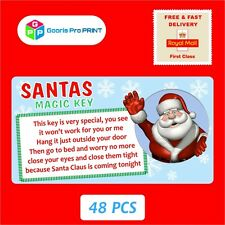 48x Christmas Santa Claus Magic Key Stickers Xmas Gift Seal Label Tag Fun X47