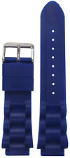 18mm PM Blue Waterproof Silicone Oyster Dive Watch Band 125/75 18/20