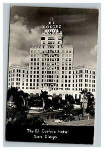 Vintage 1940's RPPC Advertising Postcard El Cortez Hotel San Diego California