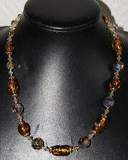 collier façon ancien en pâte de verre ambre et perles à facettes