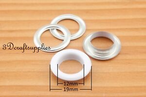 eyelets metal with washer grommets white round 40 sets 12 mm G18