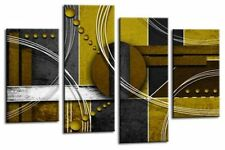 Large Abstract Circles Art Picture Mustard Black Grey Wall Canvas Split Panel