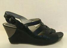 CLARKS Black Leather Wedge Heel Sandals Womens UK 6 EU 39.5