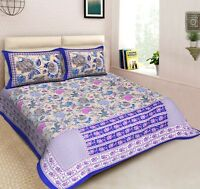 Queen Size Bedspread floral pattern 100% Cotton Throw With Pillow Cover