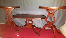 3PC 1920s Mersman Mahogany Harp Lyre Base Coffee Table w/ 2 matching Lamp Tables