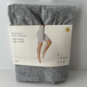 A New Day Womens High Waisted Cotton Blend Seamless Gray Bike Shorts Size S/M