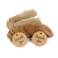 Paquet de 100 Merci Etiquettes en papier kraft Etiquettes en vente avec
