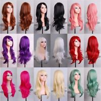 Womens 70cm Long Wavy Curly Hair Synthetic Anime Cosplay Full Wig Wigs Party