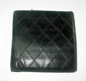 AUTH CHANEL MEN'S BLACK VERY SOFT QUILTED LEATHER BI-FOLD WALLET -EXCELLENT- WOW