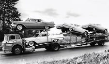 1957 Cadillac's loaded onto a Car Carrier for transport  11 x 19 Photograph