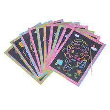 5pcs Magic Color Scratch Art Paper Coloring Cards Scraping Kids Drawing Toys  od